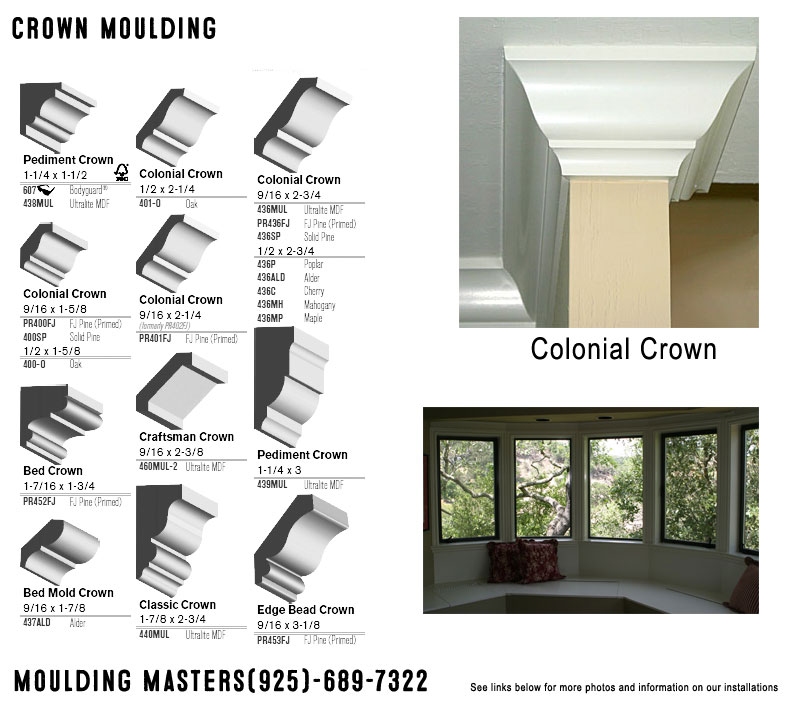 Crown Moulding, Colonial Crown, Pediment Crown, Edge Bead Crown